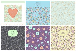 Vintage cards+seamless patterns