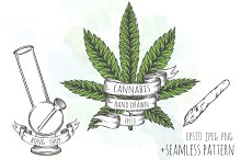 Cannabis hand drawn set of objects.