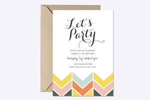 Cheerful Chevron Invite Template