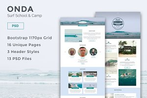 Onda - Surf School PSD Template