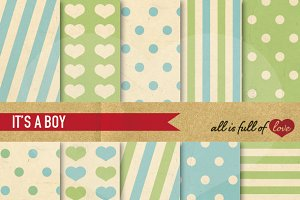 Boy Patterns Blue Green Illustration