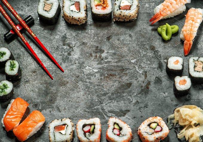 Japanese food frame. Sushi - Food & Drink