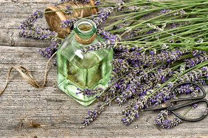Herbal lavender oil with flowers