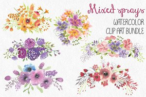 Watercolor bundle: floral sprays