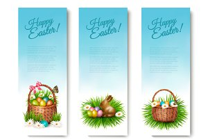 Three Happy Easter Banners