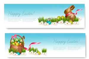 Two Happy Easter Banners.