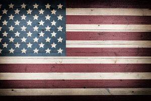 Fading USA Flag on Wood