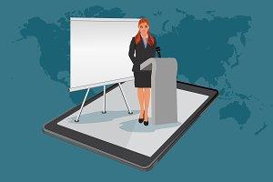 webinar, online presentation, vector