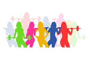 fitness icons, woman silhouette