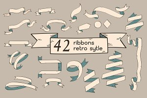 Ribbon sketch retro style