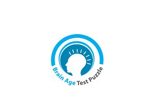 Brain Age Test Puzzle Logo Template