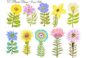 10 Flower Stems by Karen Fields