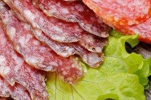 Slices of Salami and Smoked Sausage
