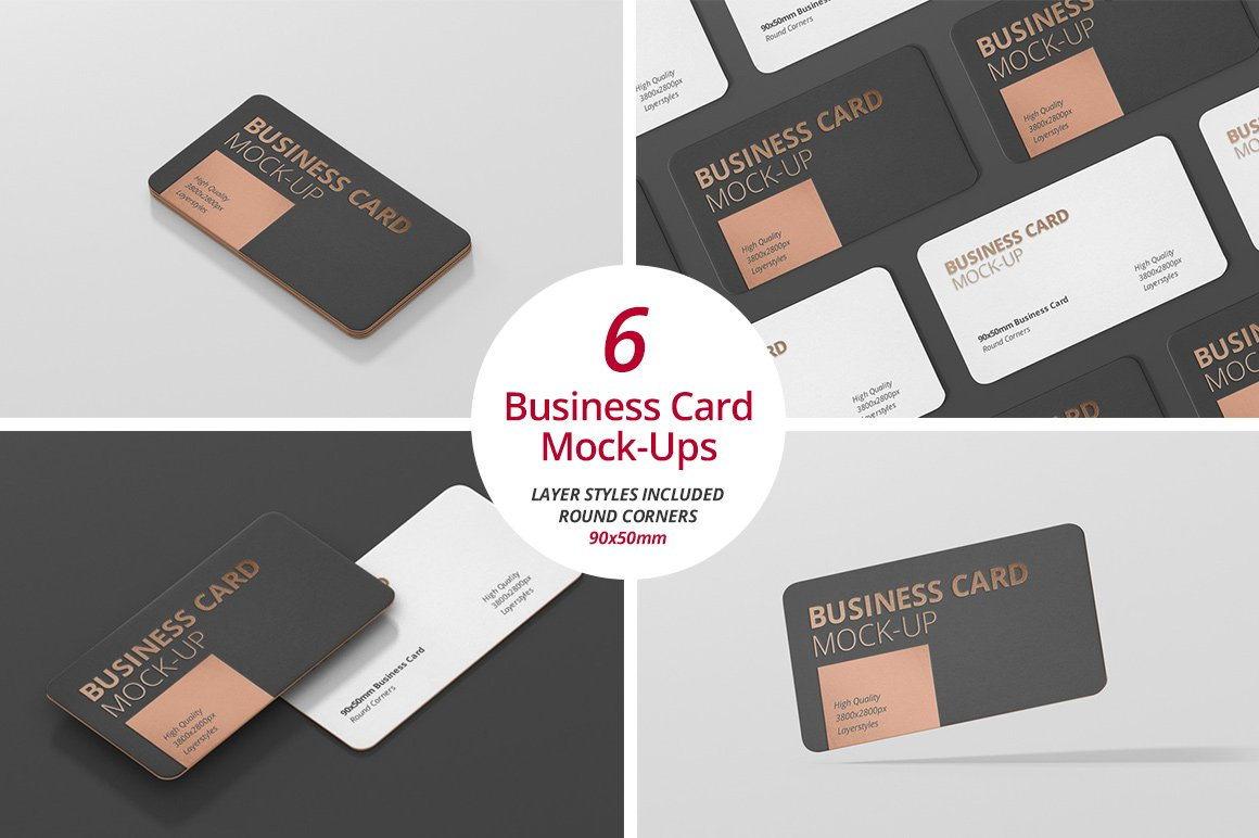 Business card mockup round corner product mockups creative market reheart Images