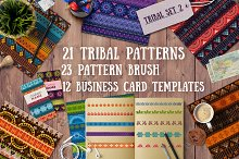 2.Tribal patterns, brushes and cards