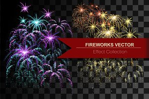 Fireworks vector effect collection.