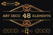 48 Hand Drawn Art Deco Elements Vol4
