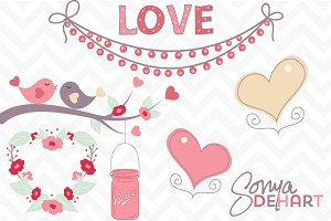 Clip Art Romantic Love Birds Hearts