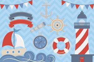 Clip Art Set Nautical Elements