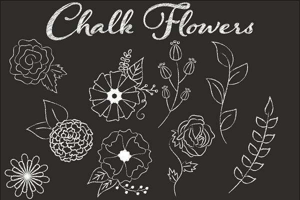 Clip Art Chalk Flower Illustrations
