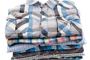Stack of Plaid Men's Shirts
