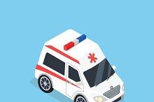 Isometric Ambulance Car