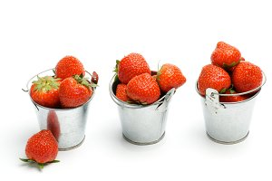 Tin Buckets with Strawberry