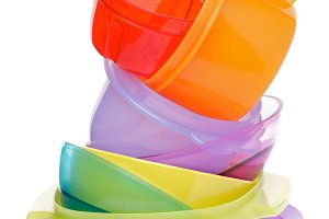 Stack of Plastic Bowls