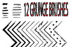 12 Grunge brushes. Vector.