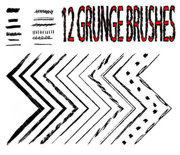 12 Grunge brushes. Vector. - Brushes
