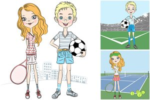 Sports girl and boy set