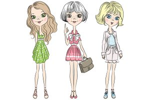 Beautiful fashion girls set