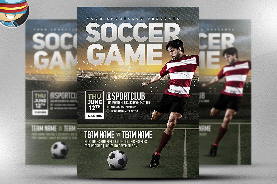 Soccer Game Flyer Template Flyer Templates Creative Market – Soccer Flyer Template