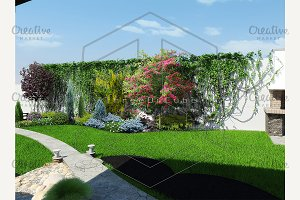 Backyard landscaping, 3d render