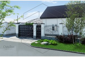 Private land exterior, 3D render