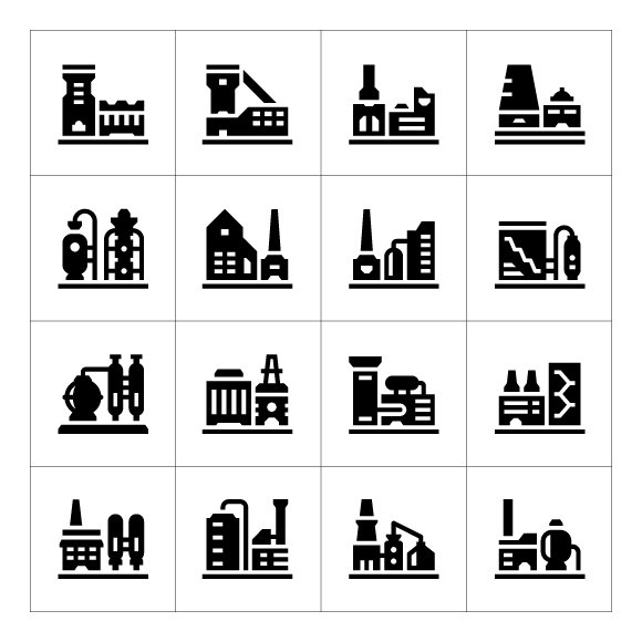 Set icons of factory