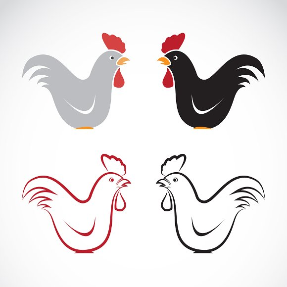 Vector image of an chicken design in Icons