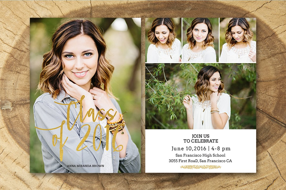 Senior Graduation Announcement ~ Invitation Templates ~ Creative Market