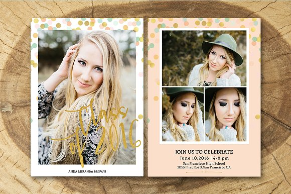 senior graduation announcement invitation templates creative market
