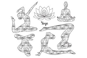 Yoga silhouette set.