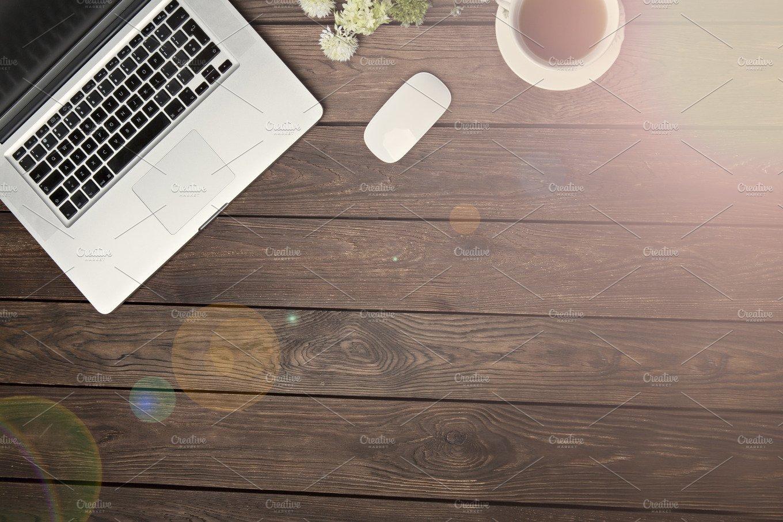 Wooden Desk Background ~ Wooden desk flat lay business photos creative market