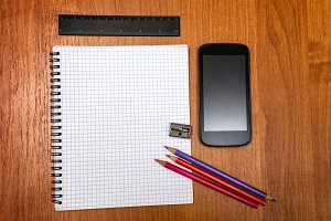 Pencils, ruler and mobile phone
