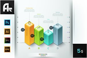 Abstract 3D Bar Chart Infographics