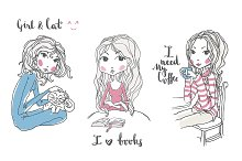 Vector Cute Hand Drawn Girls