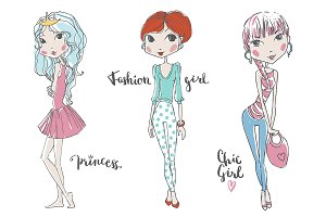 Vector Hand Drawn Fashion Girls