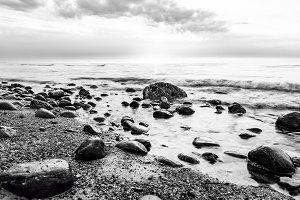 Seashore in black and white.