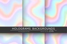 Set 6 realistic hologram background