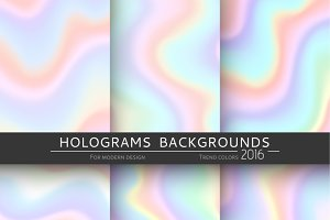 Set 6 realistic hologram background