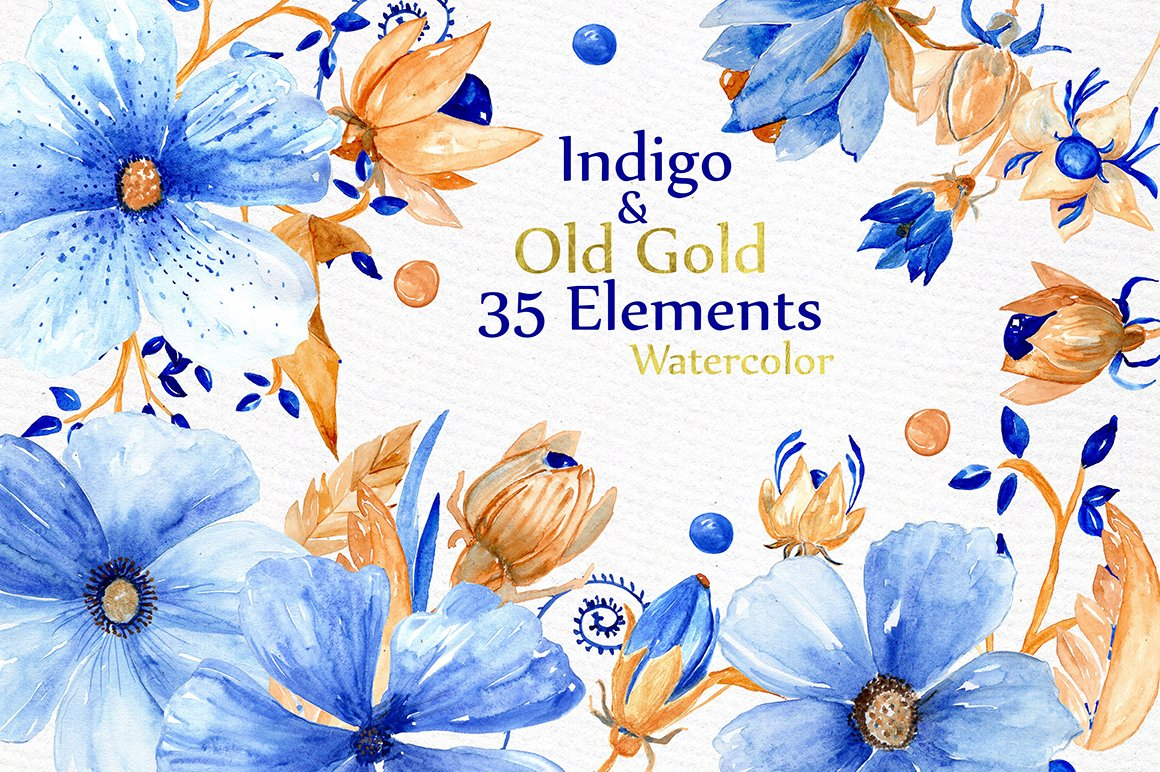Watercolor Blue Gold Flowers Illustrations Creative Market