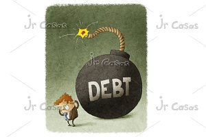 Businessman with Huge debt Bomb behind
